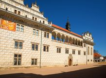 Arcades and sgrafitto on Litomysl castle, Czech republic. Buildings with renaissance sgrafitto and arcade on Litomysl castle, Czech republic Stock Photo