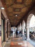 Arcades at square Largo Nicolo Rezzara in Bergamo royalty free stock photo