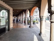 Arcades on street Largo Nicolo Rezzara in Bergamo royalty free stock photography