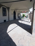 Arcades of town hall in Levoca. Summer view portraying arcades of medieval town hall in Levoca, located in Spis region, north-eastern Slovakia. This town hall Stock Image