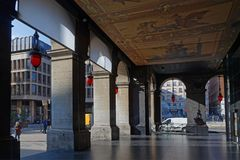 Arcades under the opera house of Lyon Stock Photos