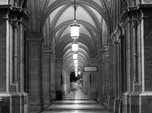 Arcades at the Vienna Opera House at night Royalty Free Stock Photos