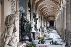 Arcades on Vysehrad in Prague. Burials on the cemetery Vysehrad in the city of Prague Stock Photo
