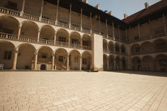 Arcades in Wawel Castle in Cracow, Poland. Arcades in Wawel Castle. Krakow, Poland, June 17th 2016 Royalty Free Stock Photo