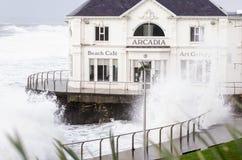Arcadia Cafe Portrush. Battered by the Atlantic Ocean Royalty Free Stock Photos