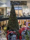 Big christmas tree inside the mall. Arcadia, DEC 9: Big christmas tree inside the mall on DEC 9, 2017 at Arcadia, California Royalty Free Stock Photos