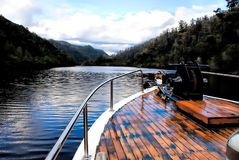 Arcadia Boat. Arcadia II - Pieman River Cruises operate within the Tarkine on the majestic Pieman River in Tasmania`s west. Cruises on this magnificent river run Royalty Free Stock Images