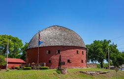 Free Arcadia Round Barn With Red Oak Boards And Grey Roof, Is A Landmark Next To Route 66. Arcadia, Oklahoma, US Stock Photos - 165716033