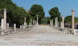 Arcadian gata i Ephesus den forntida staden royaltyfria bilder