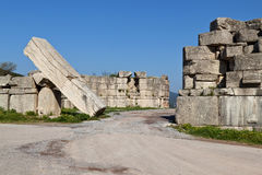 The Arcadian gate at Greece. The Arcadian gate megalithic monument at Messene, Greece Stock Image