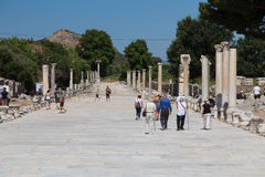 Arcadian Street in Ephesus Ancient City Stock Images