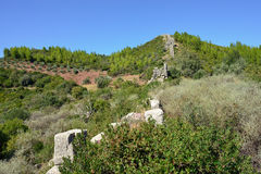 The Arcadian wall. Fortification wall of The Arcadian castle of famous archaeological site near ancient Messini, Peloponnese, Greece Stock Photo