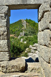 The Arcadian wall. Fortification wall of The Arcadian castle of famous archaeological site near ancient Messini, Peloponnese, Greece Royalty Free Stock Images