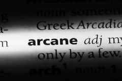 Arcane. Word in a dictionary.  concept Stock Photo