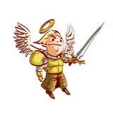Arcanjo dos desenhos animados com espada e armadura ilustração do vetor
