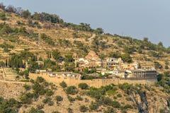 Arcanjo Michael Monastery no por do sol imagens de stock royalty free