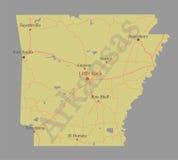 Arcansas detalhou o mapa detalhado exato do estado do vetor com a comunidade ilustração do vetor
