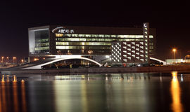 Arcapita building at night. Manama, Bahrain Royalty Free Stock Photo