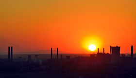 ArcelorMittal Galati Romania. Silhouette of industrial factory at sunset Royalty Free Stock Photo