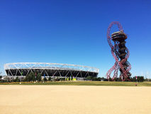 Arcelormittal observation tower london olympic stadium. The ArcelorMittal observation tower and London Olympic Stadium in Stratford, London Royalty Free Stock Photo