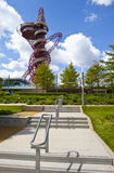 ArcelorMittal Observation Tower. A view of the ArcelorMittal Observation Tower seen from the Queen Elizabeth Park in London Royalty Free Stock Images
