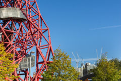 The ArcelorMittal Orbit. London England - October 17, 2016; From Queen Elizabeth Olympic Park in Stratford London abstract ArcelorMittal Orbit red tubular Royalty Free Stock Images