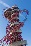 The ArcelorMittal Orbit. London England - October 17, 2016;  ArcelorMittal Orbit red tubular steel abstract looking structure spiralling skyward with silver Stock Photos