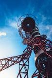ArcelorMittal Orbit in London. Queen Elizabeth Olympic Park, London - July 28, 2013:  ArcelorMittal Orbit tower in the Queen Elizabeth Olympic Park, the UK`s Royalty Free Stock Images