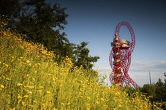 Arcelormittal Orbit. London, United Kingdom.  Queen Elizabeth II Olympic park, Stratford. View on ArcelorMittal Orbit. Summer Stock Photo