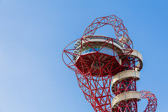 Arcelormittal Orbit. The ArcelorMittal Orbit is a 114.5 metre (376 feet) tall sculpture and observation tower in the Queen Elizabeth Olympic Park in Stratford Stock Photos