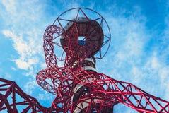 ArcelorMittal Orbit in the Queen Elizabeth Olympic Park, London. Queen Elizabeth Olympic Park, London - July 28, 2013:  ArcelorMittal Orbit tower in the Queen Royalty Free Stock Images