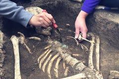 Archäologische Aushöhlungen Archäologe mit Werkzeugen leitet Forschung auf menschlicher Beerdigung, Skelett, Schädel stockfotos