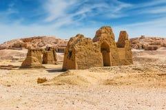 Archäologische Aushöhlungen in der Wüste kairo giza Egypt Tr lizenzfreie stockfotografie