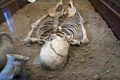 Archäologische Aushöhlungen eines alten menschlichen Skeletts und des menschlichen Schädels Lizenzfreies Stockfoto