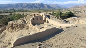 Archäologische Fundstätte Paredones bei Sonnenuntergang Nazca Peru stock footage