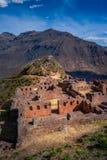 Archäologische Ruinen des Inkas von Pisac im heiligen Tal lizenzfreie stockfotos