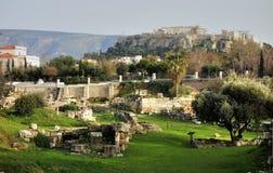 Archäologischer Standort und Akropolis Stockbild