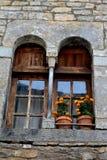 Arché medievali per Windows in Ainsa, Spagna Immagine Stock Libera da Diritti
