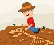 Archéologue d'enfant de bande dessinée excavant pour le fossile de dinosaure illustration de vecteur