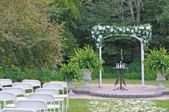 Arch. Flower arch in the garden for wedding ceremony Royalty Free Stock Photo