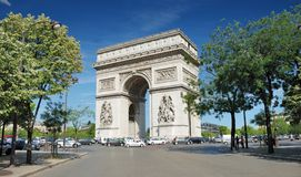 Arch. The Triumphal Arch (Arc de Triomphe) in Paris, France Royalty Free Stock Photography