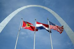 The Arch. In St Louis with three flags Royalty Free Stock Image