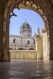 Arch. Corridor and arch inside the Jeronimos Monastery in Belem, Lisbon royalty free stock photography