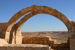 Arch. Reconstructed byzantine house in Avdat, Israel Stock Photo