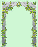 Arch. Ancient roman arch, as triumphal with ivy, vector file has 6 layers for each color, background and contours, space for text or image in the middle Stock Image