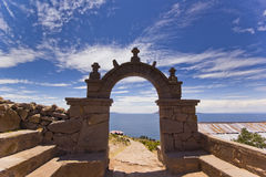 Arch above titicaca lake in peru. With blue sky Royalty Free Stock Images