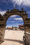 Arch above titicaca lake in peru. With blue sky Stock Photography