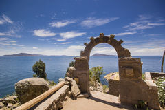 Arch above titicaca lake in peru. With blue sky Stock Image