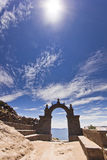 Arch above titicaca lake in peru. With blue sky and sky shining Royalty Free Stock Images