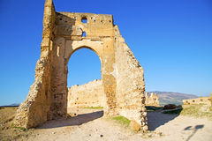 Arch in africa old construction street  blue sky. Morocco arch in africa old construction     the blue sky Stock Image